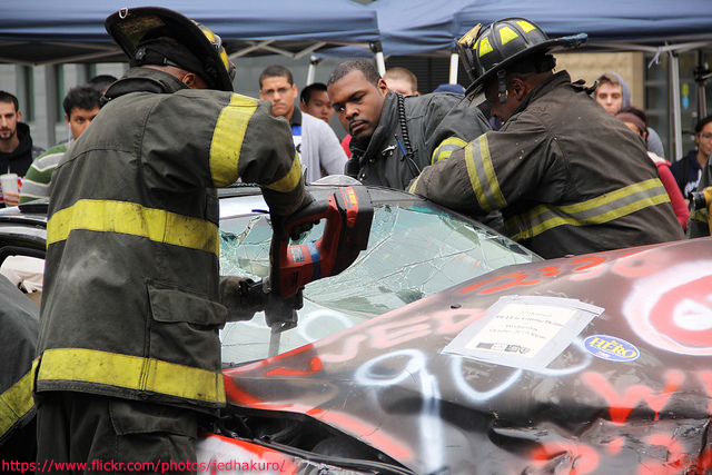 Jaws of Life used on a car and windshield after an accident